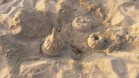 Tre sandslottar Fotografering för Bildbyråer