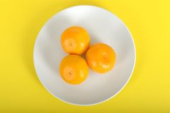 Tre Satsumas på en platta Royaltyfri Foto