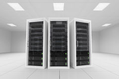 Tre scaffali di dati nella stanza del server Fotografie Stock