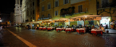 Tre Scalini Restaurant, Rome, Italy. Tre Scalini Restaurant / Ristorante is located in Piazza Navona one of Rome's loveliest squares. The restaurant is famous Stock Photography