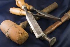 Tre scalpelli e magli Fotografia Stock Libera da Diritti