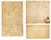 Tre scarti di carta dell'annata Immagini Stock Libere da Diritti