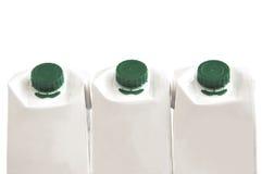 Tre scatole del latte. Fotografia Stock