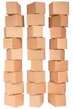 Tre scatole di cartone impilate Immagine Stock Libera da Diritti