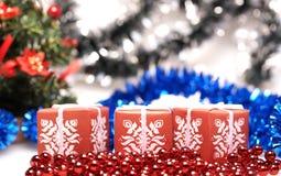 Tre scatole per il Natale Immagine Stock