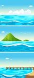 Tre scene dell'oceano al giorno illustrazione vettoriale