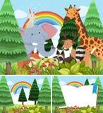 Tre scene della foresta con gli animali selvatici royalty illustrazione gratis