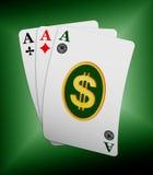 Tre schede dell'asso con il simbolo del dollaro illustrazione di stock