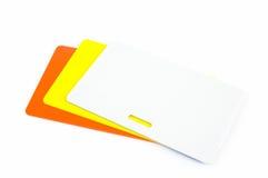 Tre schede di identificazione di colore Immagine Stock