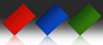 Tre schede di plastica Fotografie Stock Libere da Diritti
