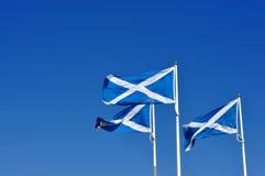 Tre scozzesi o il decusse inbandierano il salto nel vento Fotografie Stock