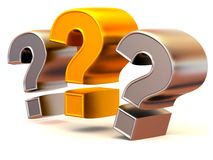 Tre segni su una domanda Fotografie Stock