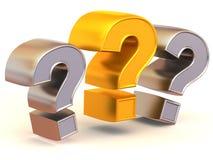Tre segni su una domanda Fotografia Stock