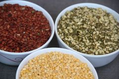 Tre semi pieni di colore Immagini Stock