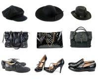 Tre sets av hattar, handväskor och skor. Royaltyfri Foto