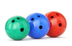 Tre sfere di bowling Fotografia Stock