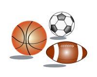 Tre sfere di sport Fotografia Stock