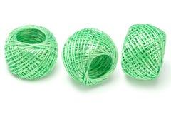 Tre sfere di stringa di nylon verde Immagini Stock Libere da Diritti