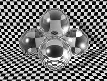 Tre sfere di vetro   Fotografia Stock