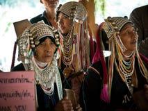 Tre signore della tribù di Padaung Fotografie Stock
