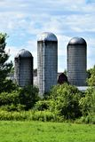 Tre silor som lokaliseras i Franklin County, New York, Förenta staterna, USA Arkivfoton