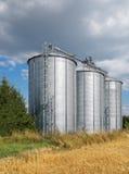 Tre silos Immagini Stock