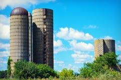 Tre silos Fotografie Stock Libere da Diritti