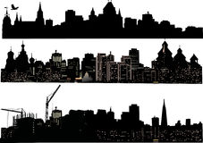 Tre siluette delle città Fotografia Stock