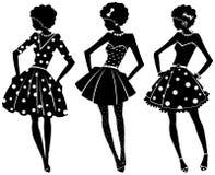 Tre siluette delle donne Fotografie Stock Libere da Diritti