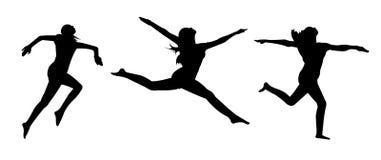 Tre siluette femminili di pose di salto su fondo bianco Immagine Stock Libera da Diritti