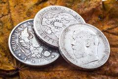 Tre silverrubel Arkivbild