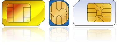 Tre sim-schede Fotografie Stock