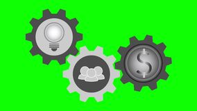 Tre simboli in ingranaggi giranti, idea della lampadina, facente lavoro di squadra illustrazione di stock