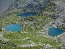 Tre sjöar i Kaukasuset, Karachay-Cherkessia Fotografering för Bildbyråer