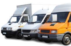 tre skåpbilar