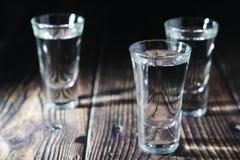 Tre skott med rysk vodka fotografering för bildbyråer