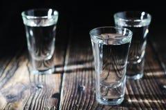 Tre skott med rysk vodka arkivbild
