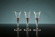 Tre skottexponeringsglas Arkivfoto