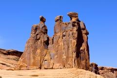 Tre skvallrar, välva sig nationalparken royaltyfria bilder