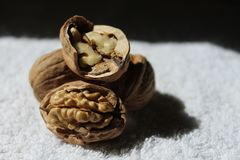Tre smakliga valnötter och ett av dem shower inom honom Royaltyfri Fotografi