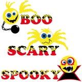 Tre smiley spaventosi di Halloween con testo Fotografia Stock Libera da Diritti