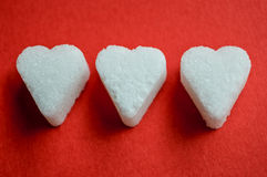 Tre sockerhjärtor Royaltyfria Bilder