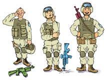 Tre soldati - il triste, il premuroso e la h Fotografie Stock