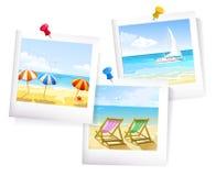 Tre sommar havsfoto vektor illustrationer