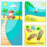 Tre sommarkort stock illustrationer