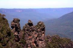 Tre sorelle formazione rocciosa nel parco nazionale blu delle montagne Immagini Stock