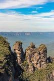 Tre sorelle formazione rocciosa nelle montagne blu parco nazionale, Australia Fotografia Stock