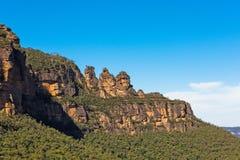 Tre sorelle formazione rocciosa nelle montagne blu parco nazionale, Australia Fotografie Stock