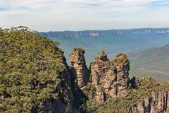 Tre sorelle formazione rocciosa nelle montagne blu parco nazionale, Australia Fotografia Stock Libera da Diritti
