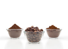 Tre sorter av kaffe Arkivfoto